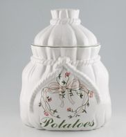 Johnson Brothers - Eternal Beau - Storage Jar + Lid - Potato Crock in shape of potato sack.