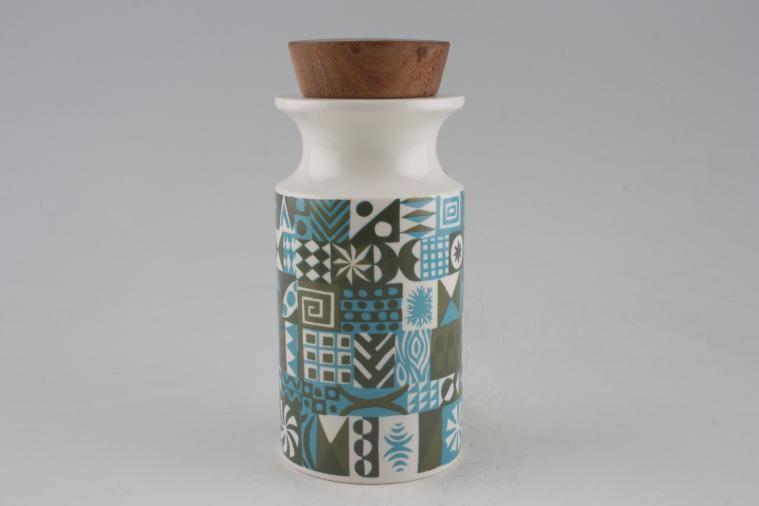 Portmeirion - Tivoli - Khaki + Blue - Storage Jar + Lid - Size represents height. Wooden lids