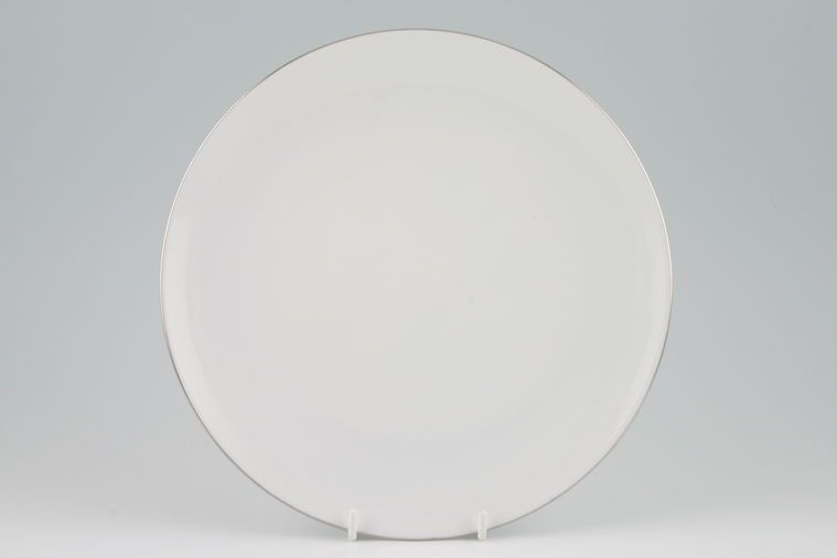 Thomas - Medaillon Platinum Band- White with Thin Silver Line - Breakfast / Salad / Luncheon Plate